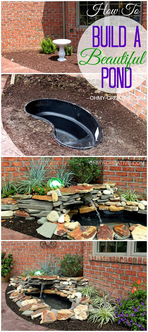 how to make a backyard pond diy backyard pond landscape water feature oh my creative