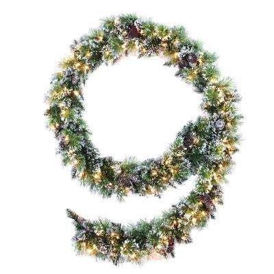 9 ft indoor pre lit glittery bristle pine artificial christmas tree martha stewart garland wreaths garland the home depot