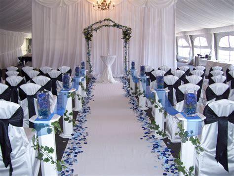 the blue petals a white aisle royal blue
