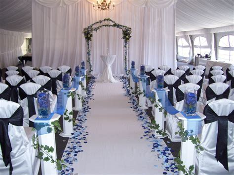 Love the blue petals down a white aisle   Royal blue