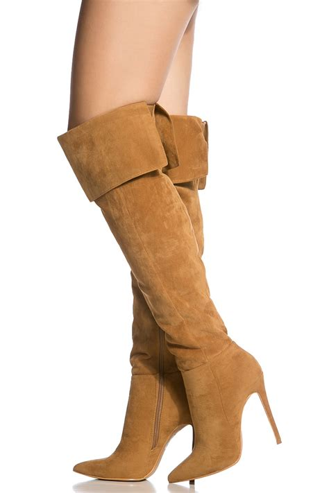 chestnut faux suede pointed toe thigh high boots cicihot