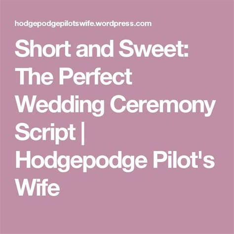 Wedding Blessing Ceremony Script by And Sweet The Wedding Ceremony Script