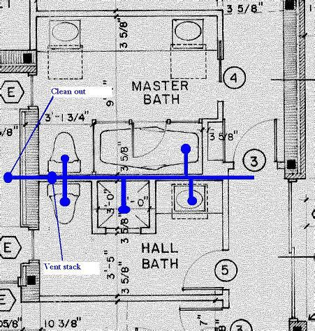 bathroom plumbing plans relocating toilet and shower tub drain terry love