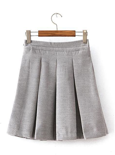 womens pleated skirt gray casual sporty looking