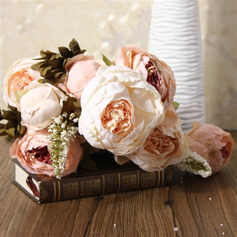 Classical Europe Style Home Decor Flowers Artificial Silk Style Artificial Peony Silk Flower Bouquet Autumn Leaf Wedding Home Decor