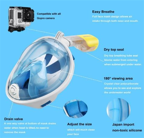octobermoon full face snorkel mask with gopro attachment