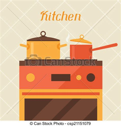 Flat Kitchen Cabinets vectors illustration of card with kitchen oven and cooking