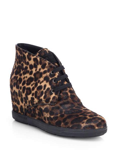 leopard sneakers prada leopardprint calf hair wedge sneakers in animal