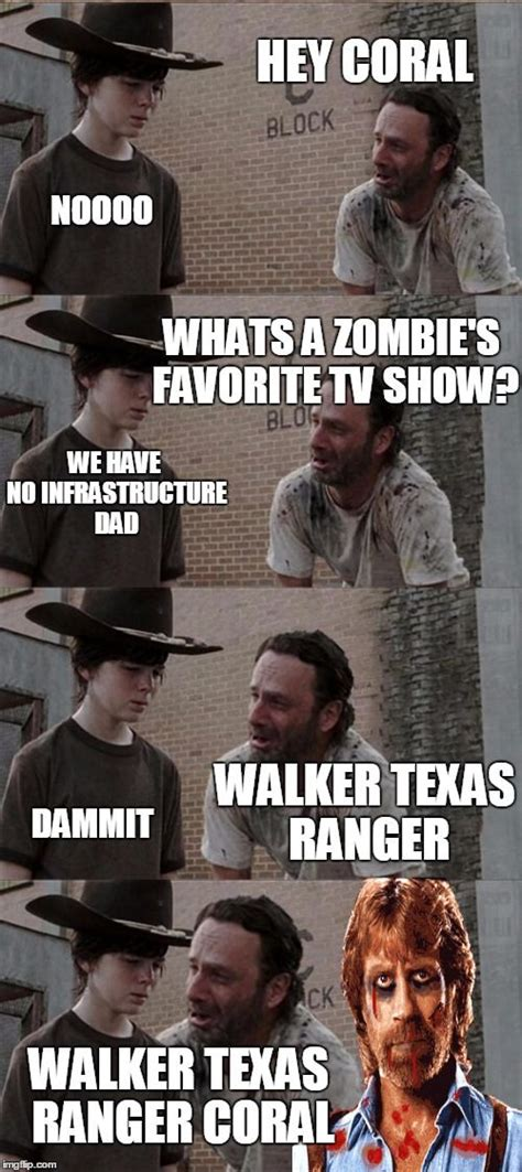 Walking Dead Rick Meme - rick and carl long hey coral noooo whats a zombie s