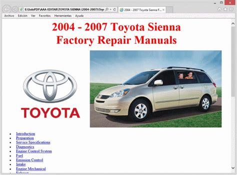 2004 2007 toyota sienna service manual diy repair workshop manual sienna 04 2005 2006 07 by lan toyota sienna 2004 2007 workshop repair service manual