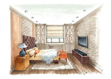 interior perspective of a bedroom 1704 best images about interior sketches on pinterest watercolors croquis and perspective
