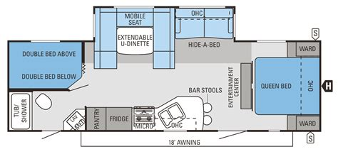 Travel Trailer Floor Plans With Bunk Beds by Attractive 2 Bedroom Travel Trailer Floor Plans Collection