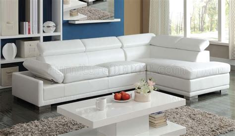 51165 cleon sectional sofa in white bonded leather by acme