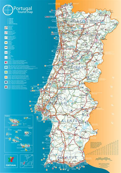 printable map portugal tourist map of portugal portugal mappery