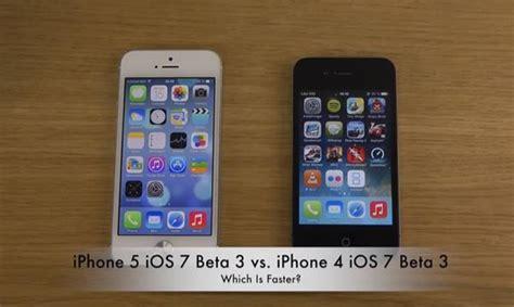 iPhone 5 vs iPhone 4 on iOS 7 Beta 3 in speed test