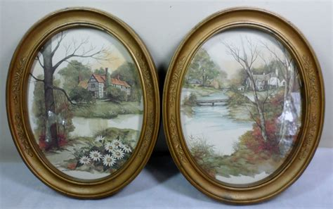 home interior framed art vtg homco home interior shabby cottage chic f massa oval