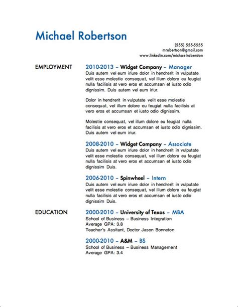 Resume Template For 60 Year by 12 Resume Templates For Microsoft Word Free