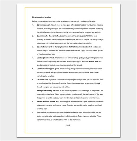 Marketing Plan Outline Template 16 Exles For Word Pdf Format Business Marketing Plan Template Word