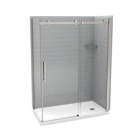 Corner Shower Door Kits Utile By Maax 32 In X 60 In X 83 5 In Right Corner Shower Kit In Metro Ash Grey With