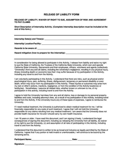 liability form template general liability release form template sletemplatess
