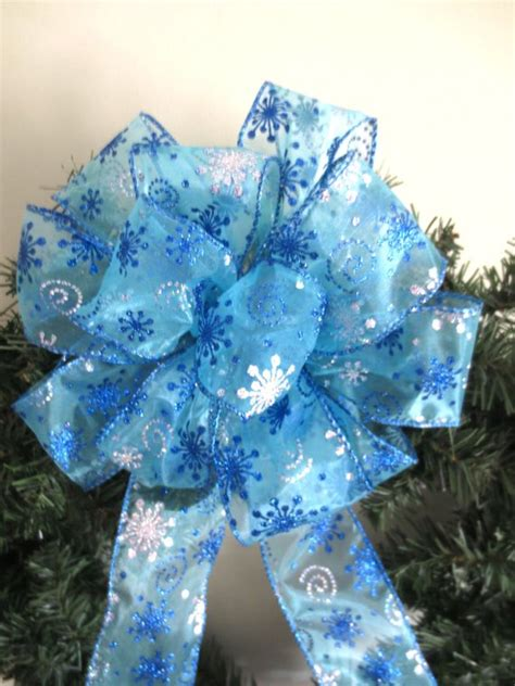 blue christmas tree bows blue bow wreath bow bow tree topper bow