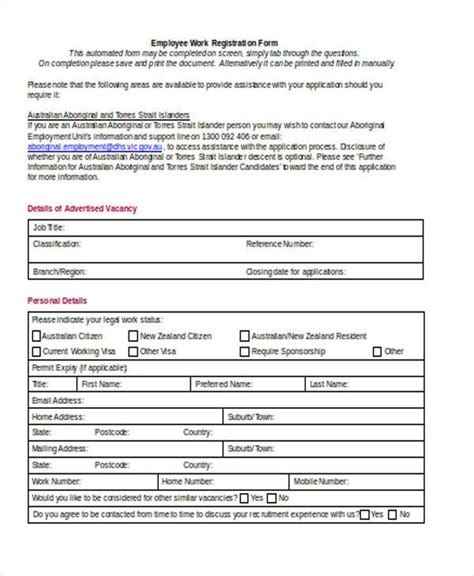 employee registration form registration forms in word
