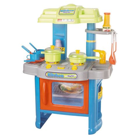 kitchen play set plastic cooker with light up hob and