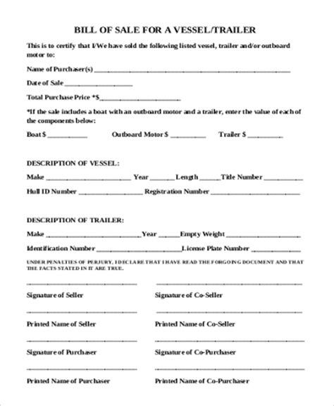 boat and trailer bill of sale as is no warranty sle boat bill of sale form 6 free documents in word pdf