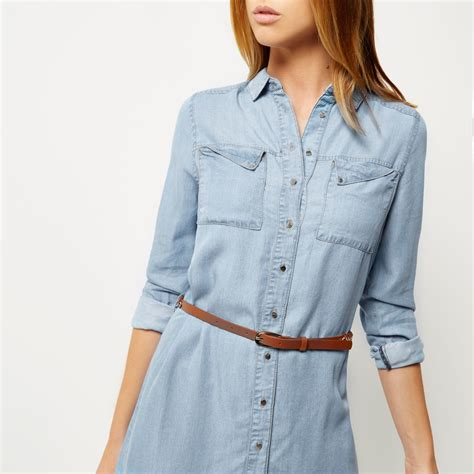 light blue denim dress river island light blue denim shirt dress in blue lyst