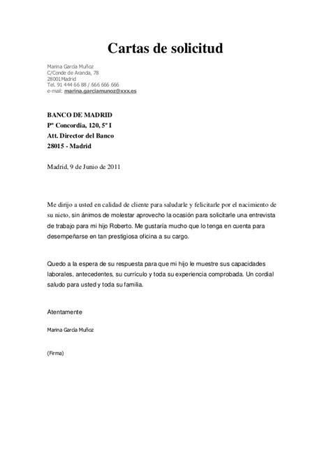 carta solicitud de empleo ingles carta de solicitud entrevista de trabajo