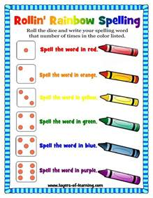 rainbow writing spelling words template rollin rainbow spelling a spelling activity layers of