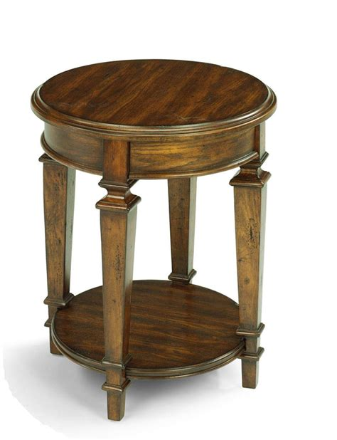 tall round accent table flexsteel oakbrook small traditional round tall standing