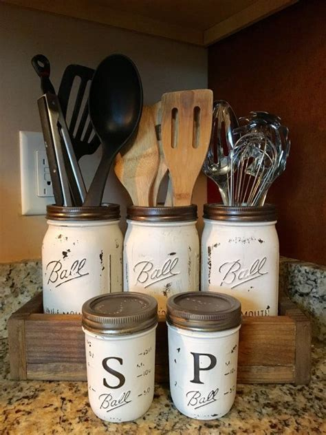 kitchen utensil holder ideas utensil jar holder with salt and pepper by