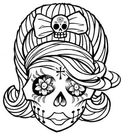 cute skull coloring pages sugar skull clip art cliparts co