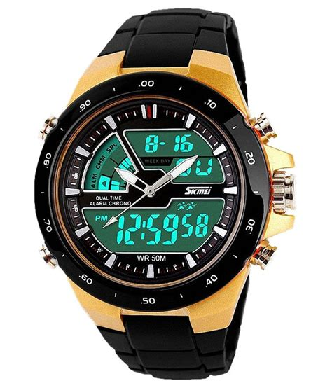 skmei black analog digital price in india buy
