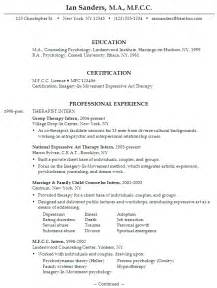 Counseling Psychologist Sle Resume by Creative Arts Therapist Resume Sales Therapist Lewesmr