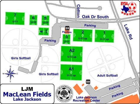 map of texas fields texas soccer fields maclean park lake jackson tx field details