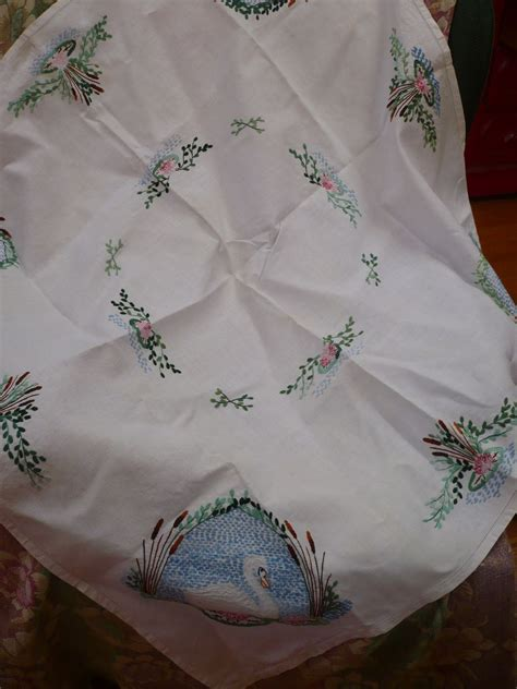 Linen Ruby Swan embroidered swan tablecloth from looluus on ruby