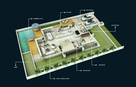 home design 3d plan 1 bhk bunglow 3d plan joy studio design gallery best