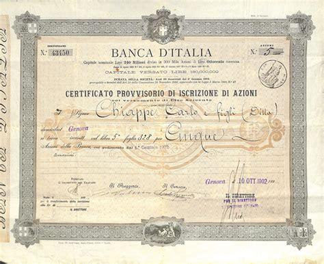 azioni d italia d italia cert provv di iscrizione di azioni
