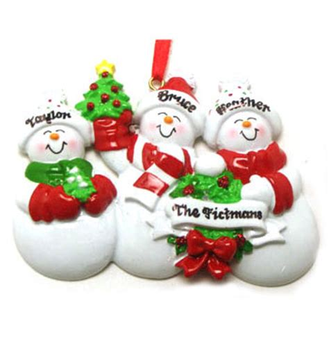 snow family of 3 personalized christmas ornament