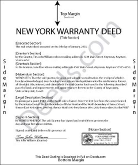 new york warranty deed forms | deeds.com