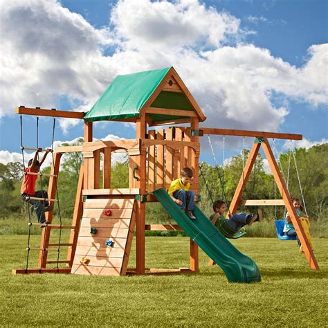 timber swing sets timber bilt bighorn playset with summit slide the home