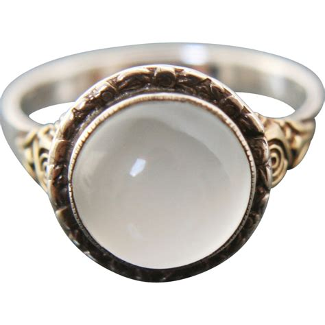 deco moonstone cabochon ring silver 900 gold 14k