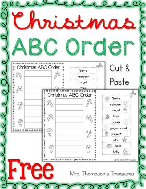 printable abc order games free christmas abc order cut and paste christmas words