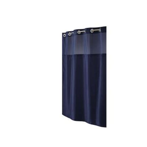 hookless shower curtain with snap in liner hookless shower curtain in mystery navy with snap liner