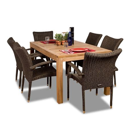 teak outdoor dining furniture inspiring teak dining sets 5 wicker and teak outdoor dining set bloggerluv