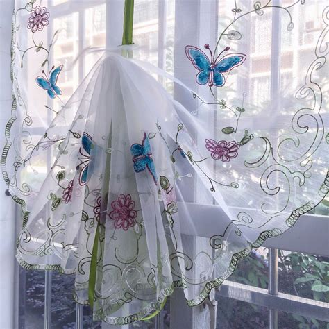 balloon curtains for kitchen organza wool embroidery blue butterfly pattern balloon