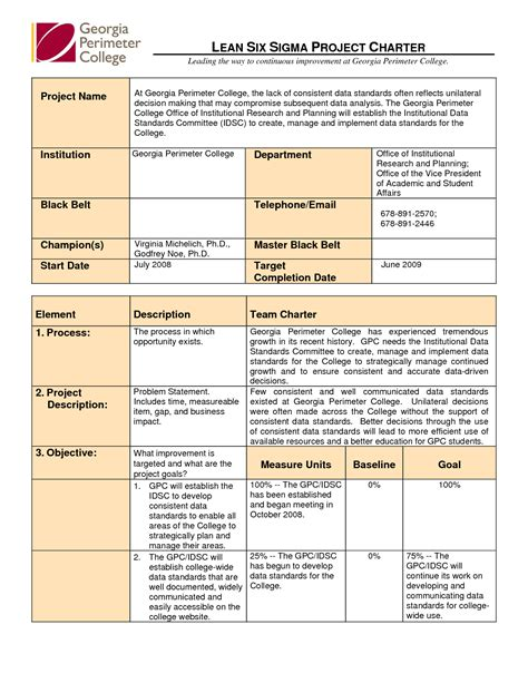 Chart Six Sigma Project Charter Template Design Six Sigma Project Charter Template Six Sigma Project Management Template