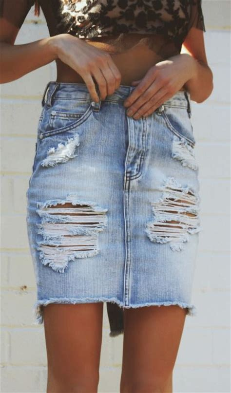 25 best ideas about ripped denim skirts on
